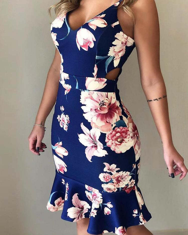 Floral Print Ruffles Cutout Waist Dress