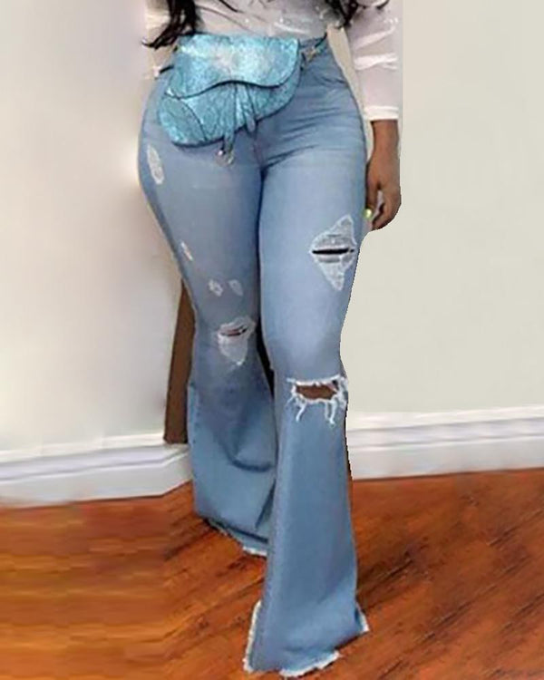 High Waist Pocket Bell-Bottom Ripped Jeans