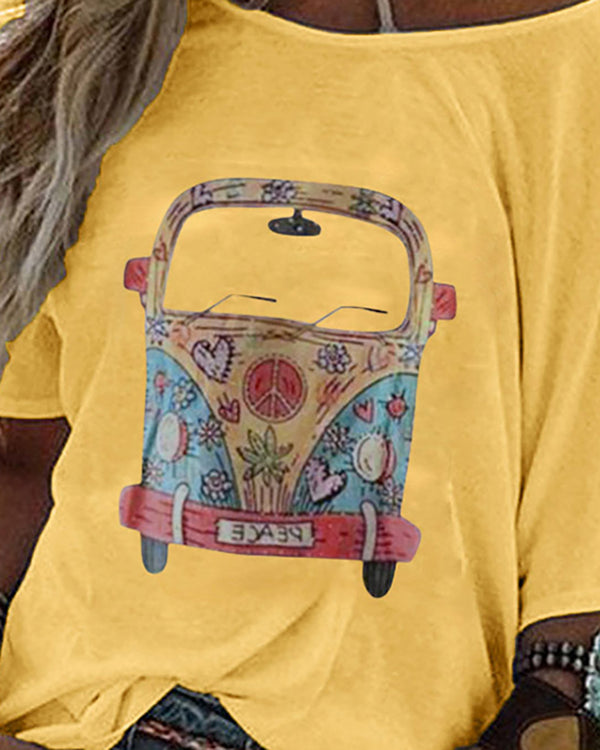 Car Print Half Sleeve Casual T-shirt
