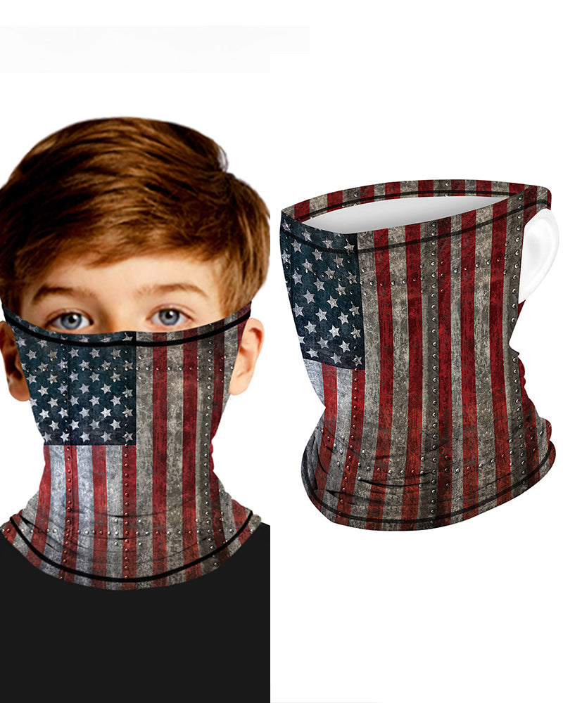 Flag Print Breathable Ear Loop Face Bandana Headwrap For Children