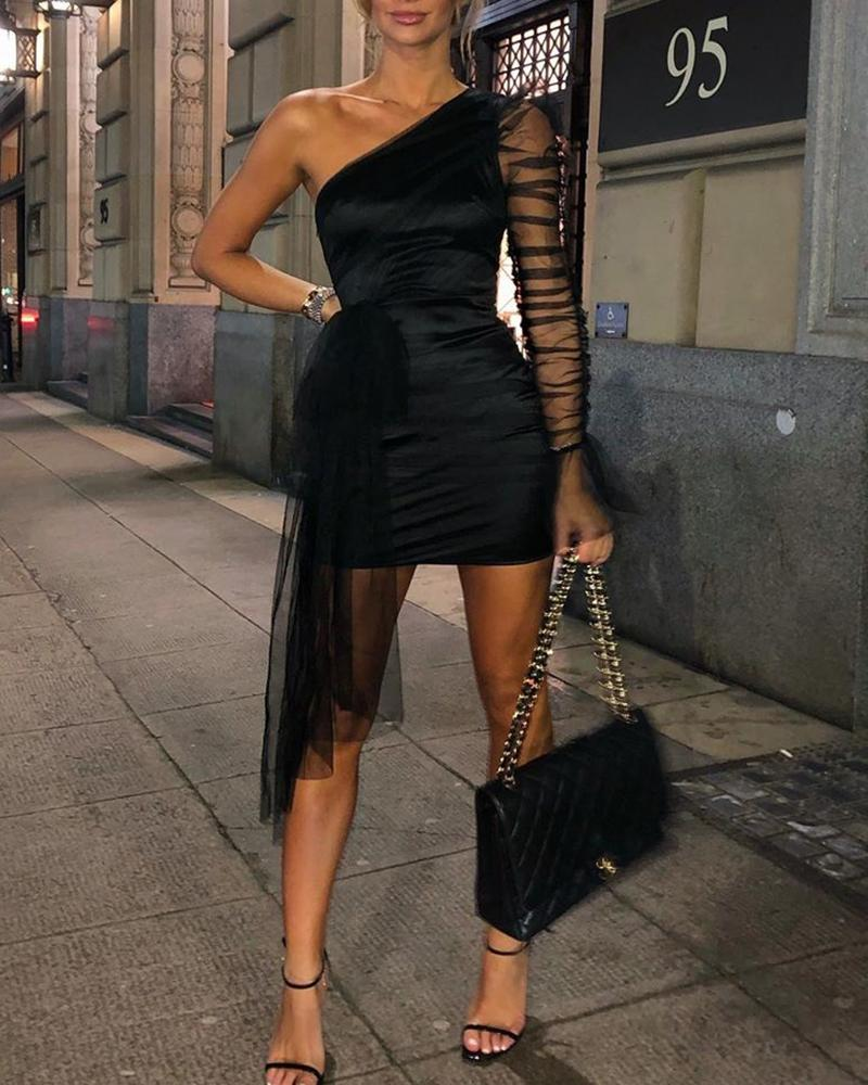 Mesh Patchwork One Shoulder Bodycon Dress