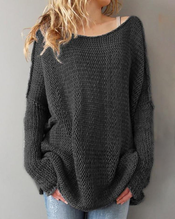Solid Boat Neck Long Bat-Wing Sleeve Casual Sweater