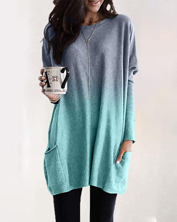 Ombre Pocket Design Longline Long Sleeve T-Shirt