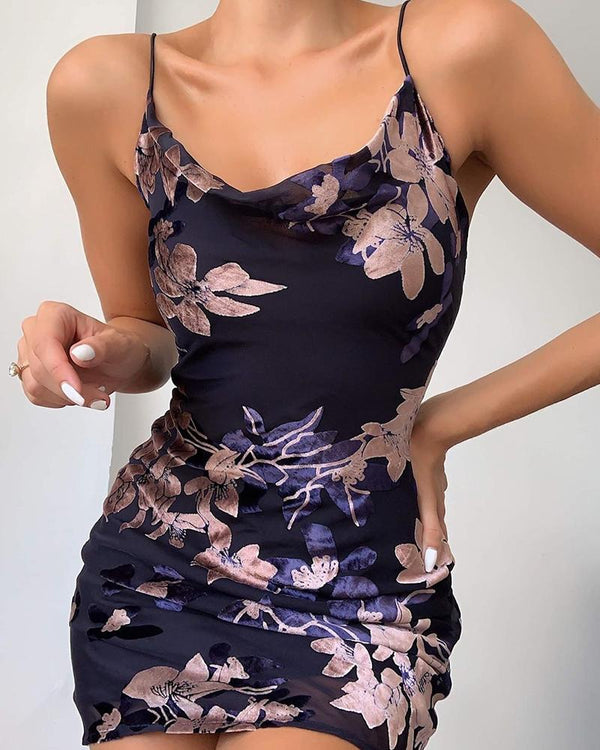 Floral Print Bodycon Slip Dress