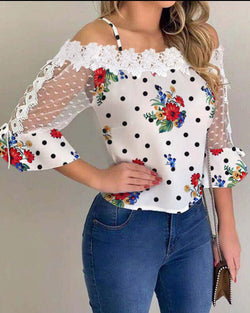 Cold Shoulder Mesh Insert Print Blouse