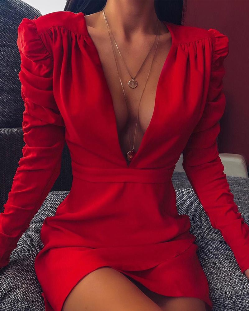 Deep V Long Sleeve Bodycon Dress