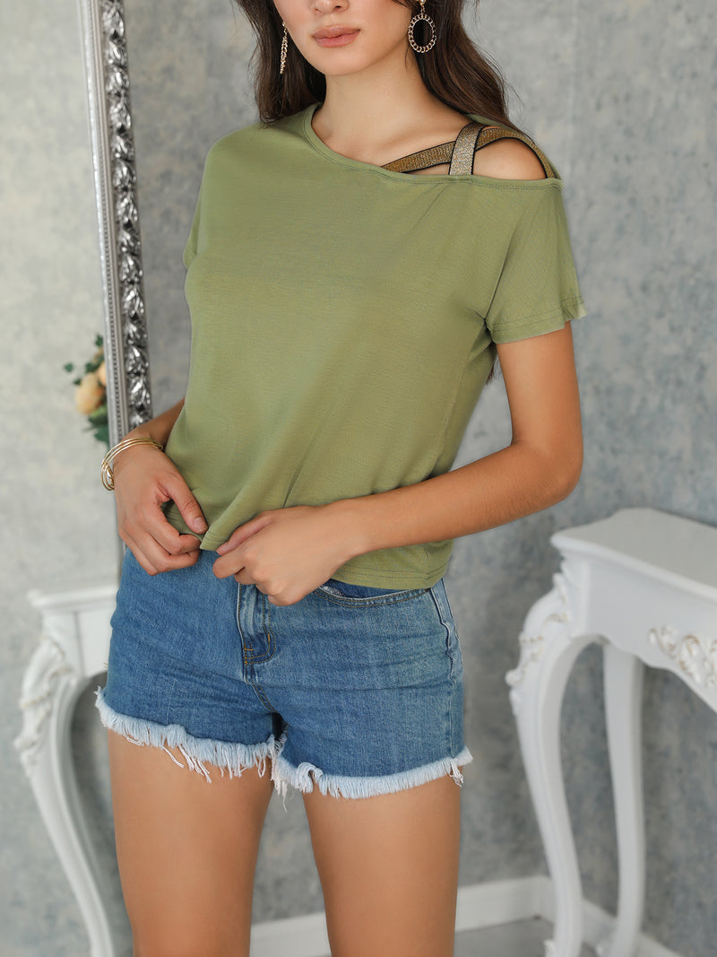 Solid Crisscross One Shoulder T-Shirt