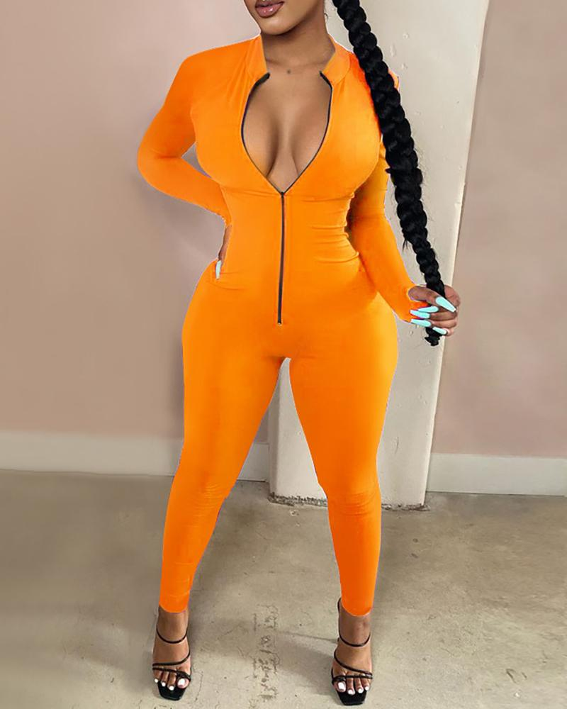 Solid Plunge Zipper Design Jumpsuit