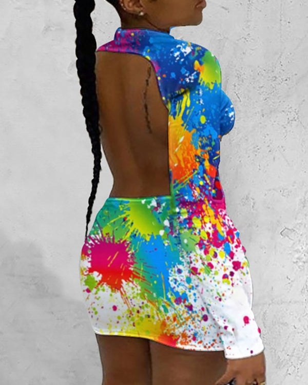 Doodle Print Colorblock Open Back Bodycon Dress