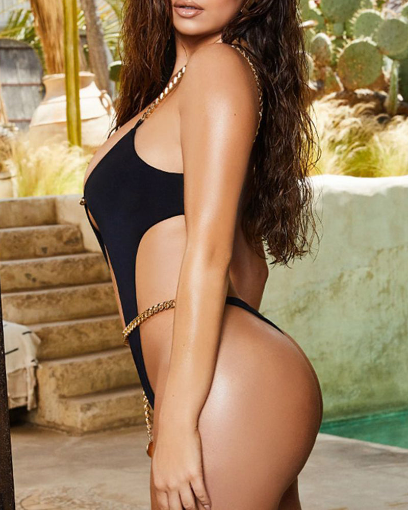 Chain Strap Cutout Backless One-Piece Swimsuit