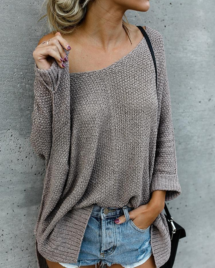 Solid V Neck Knitted Casual Sweaters