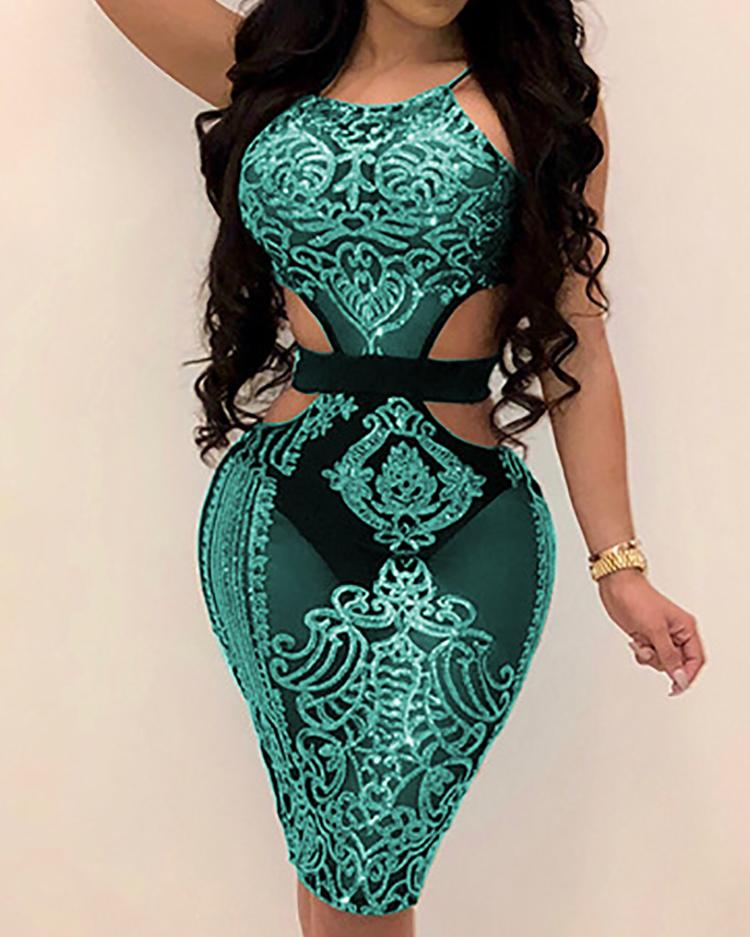 Cut Out Halter Bodycon Sequin Dress