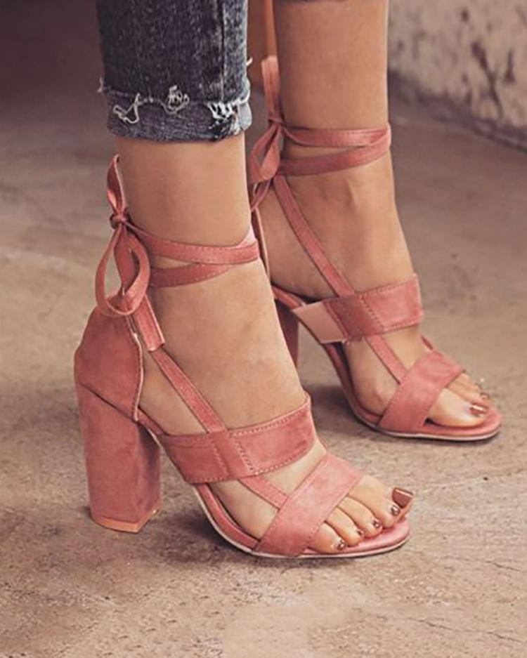 Fashion Solid Color Chunky Heeled Sandals