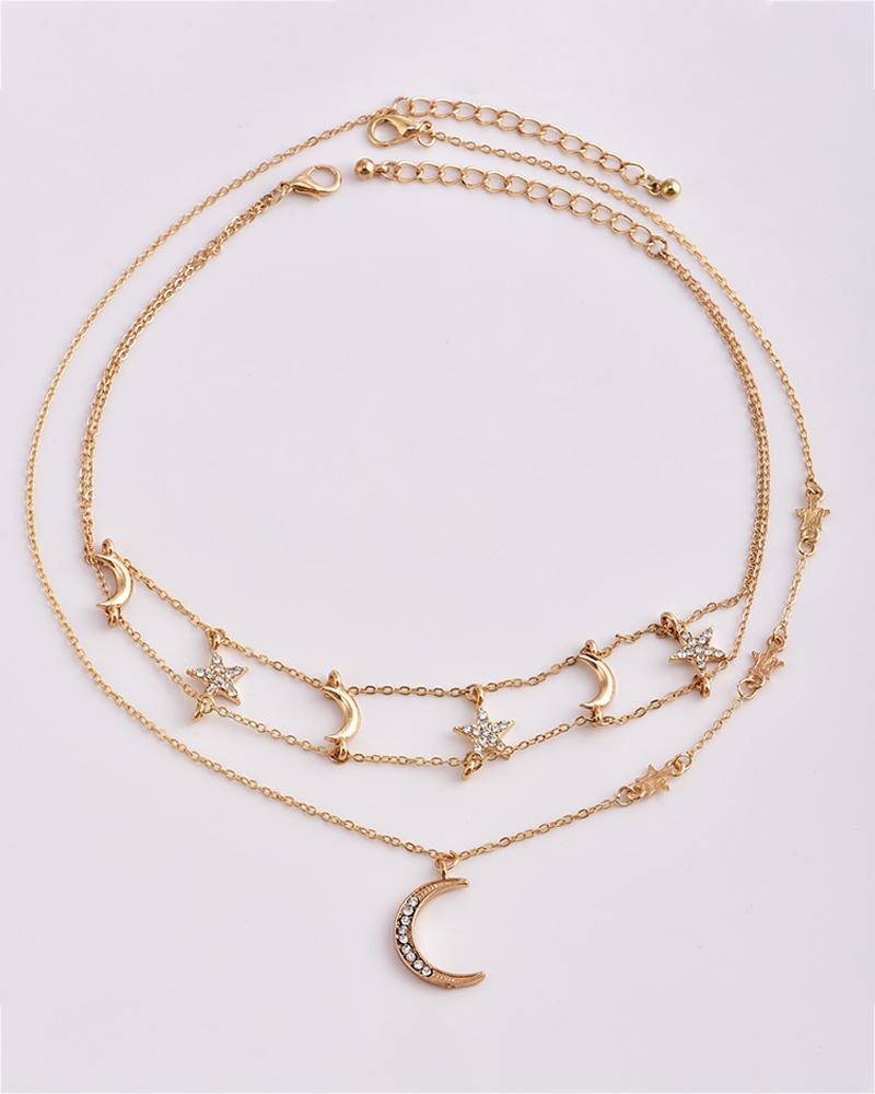 Tiered Stars Moon Pendant Necklace