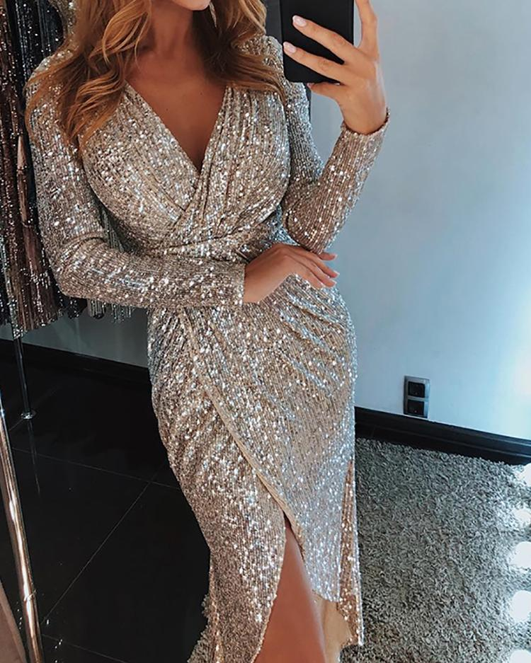 Wrap Ruched Irregular Sequin Party Dresses