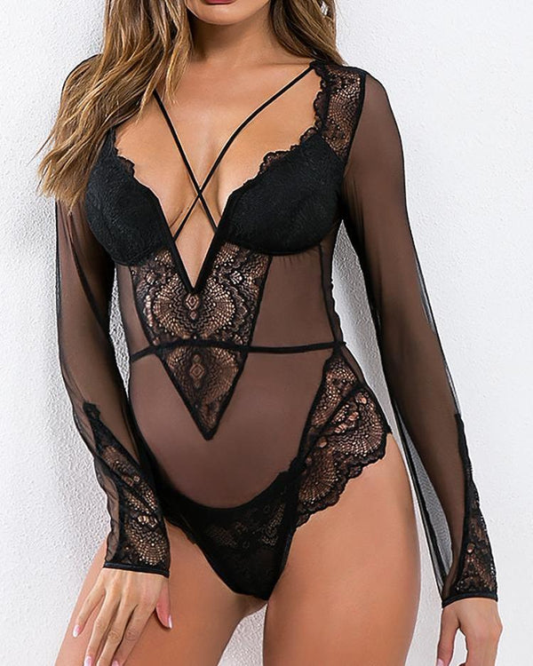 See Through Lace Mesh Insert Teddy Bodysuit