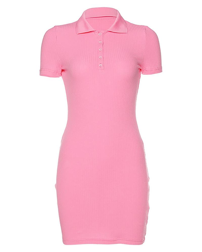 Solid Buttoned  Design Ribbed Dress