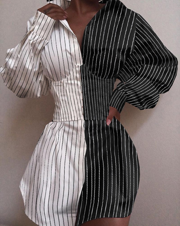 Turn-down Collar Pinstripes Colorblock Buttoned Shirt Dress