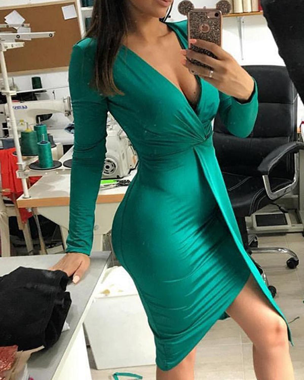 Deep V Solid Wrap Dress