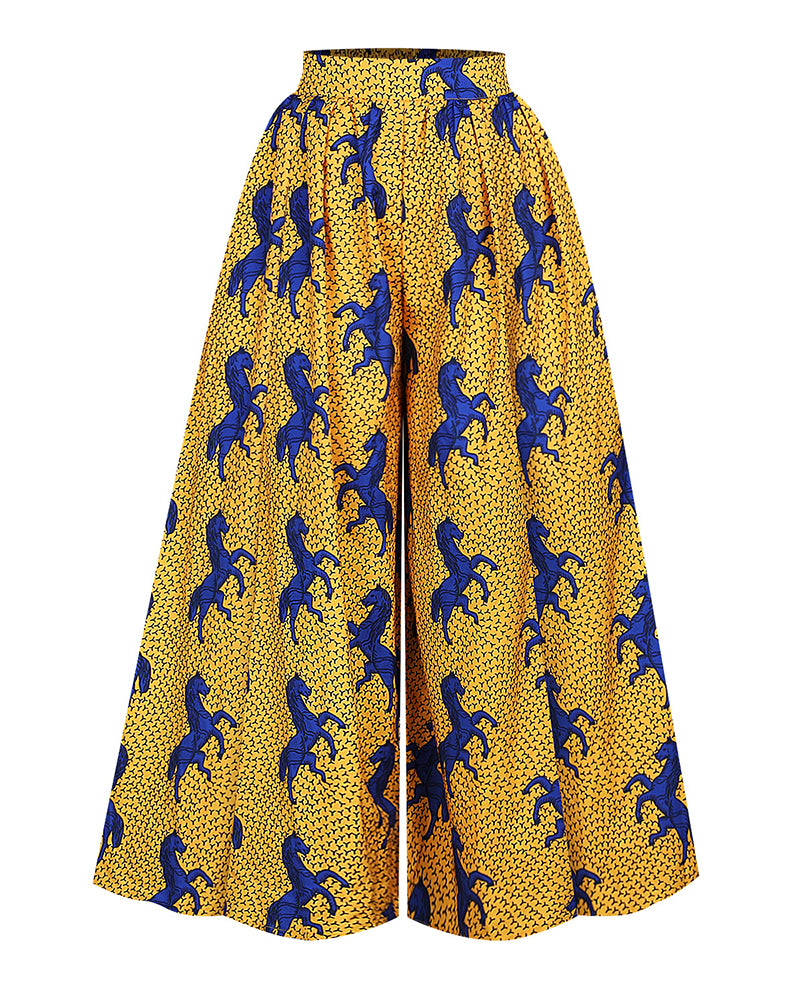 Print Off Shoulder Crop Top & Wide Leg Pant Sets