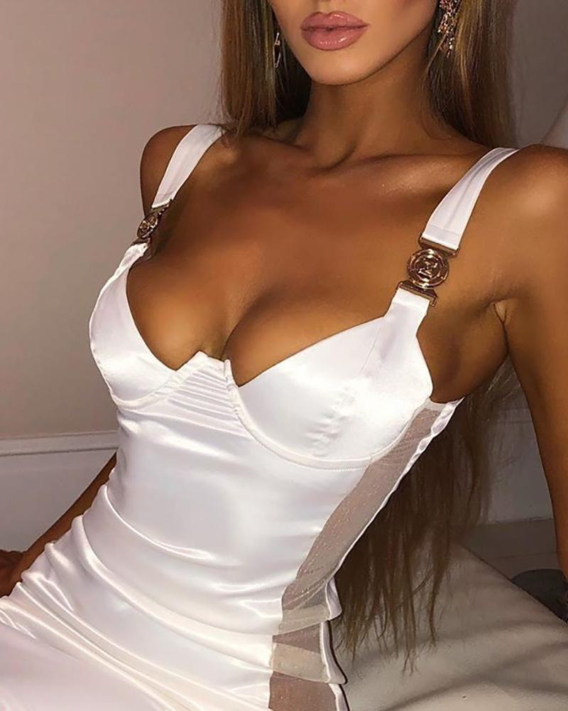 Mesh Thick Strap Bodycon Dress