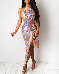 Glitter Choker Sleeveless High Slit Sequins Bodycon Dress