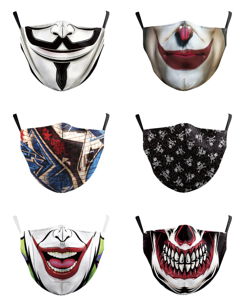 Mouth Skull Print Colorblock Breathable Face Mask