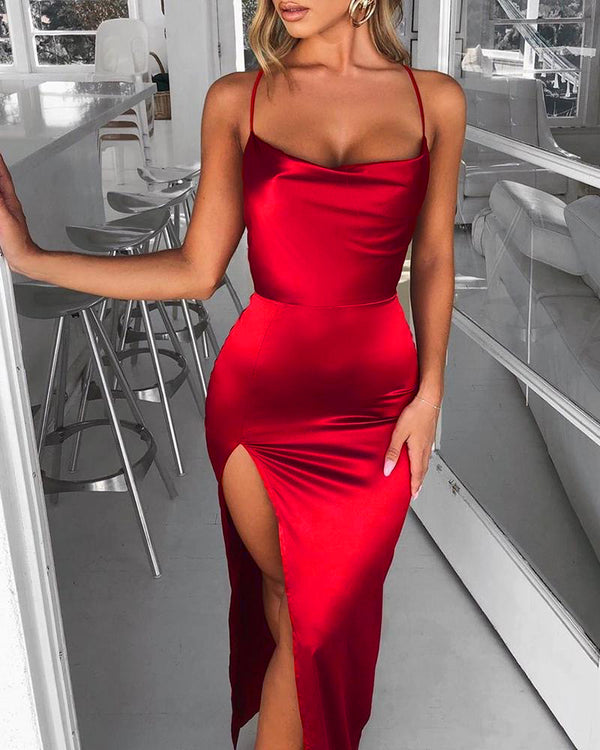 Spaghetti Strap Backless High Slit Dress
