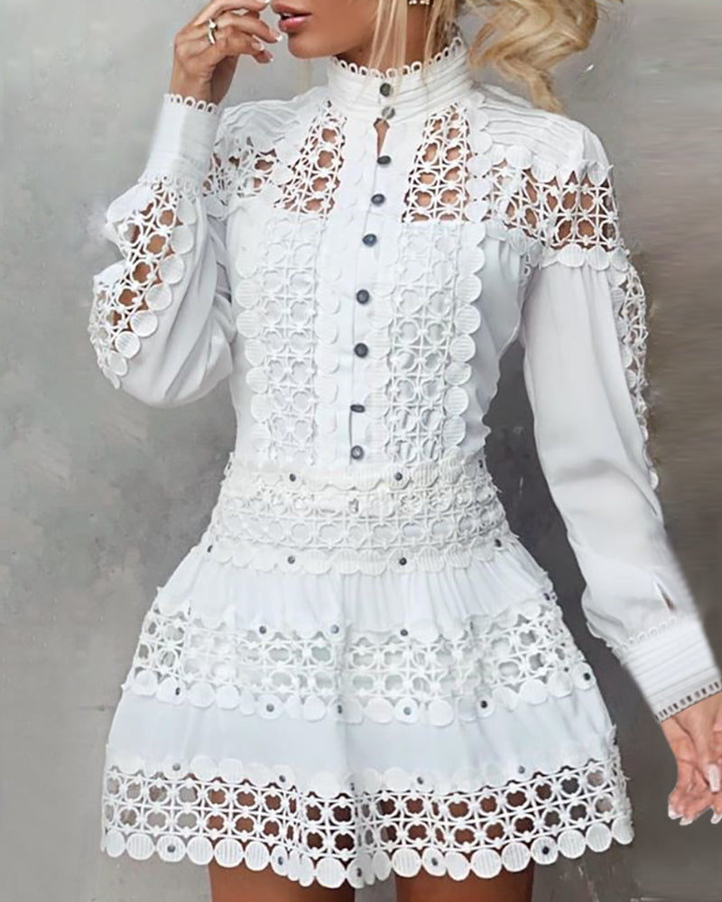 High Neck Hollow Out Lace Buttoned Top & Skirt Sets