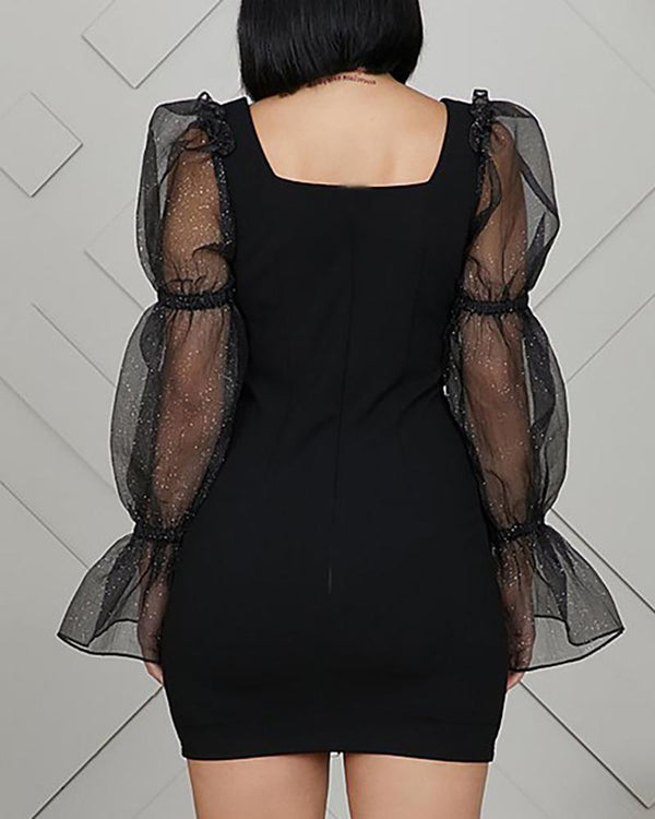 Square Neck Puff Sleeve Bell Cuff Mesh Insert Bodycon Dress