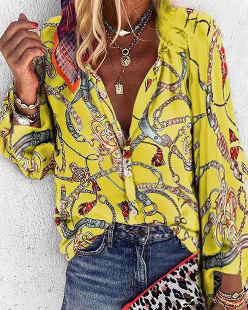 Chains Print Long Sleeve Blouse