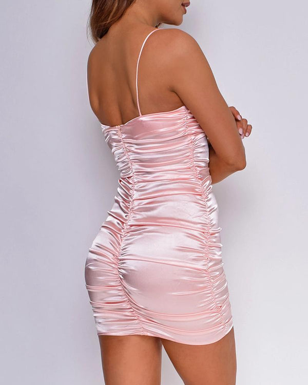 Solid Spaghetti Strap Bodycon Ruched Backless Dress