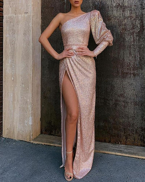 One Shoulder Tight Waist High Slit Maxi Dress