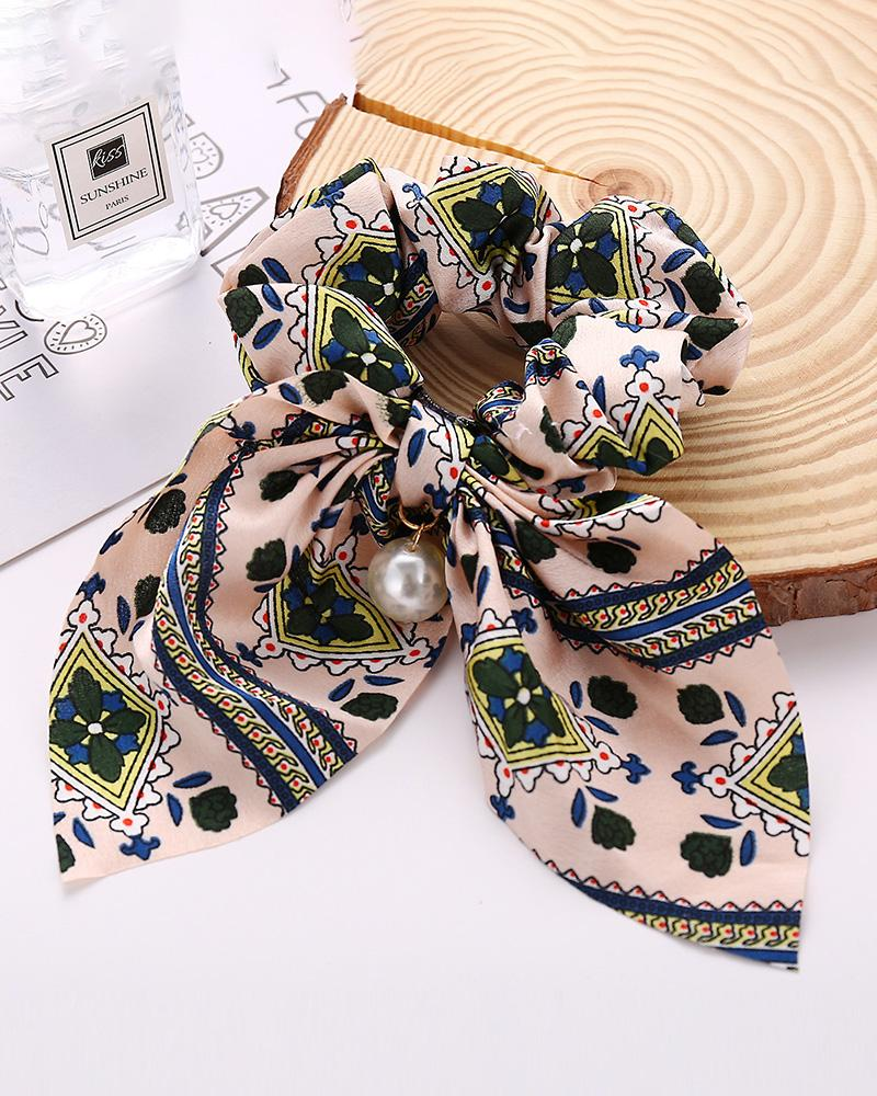 Retro Floral Print Beaded Fabric Scrunchy