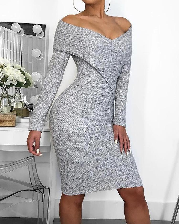 Cross Over Off Shoulder Bodycon Dress