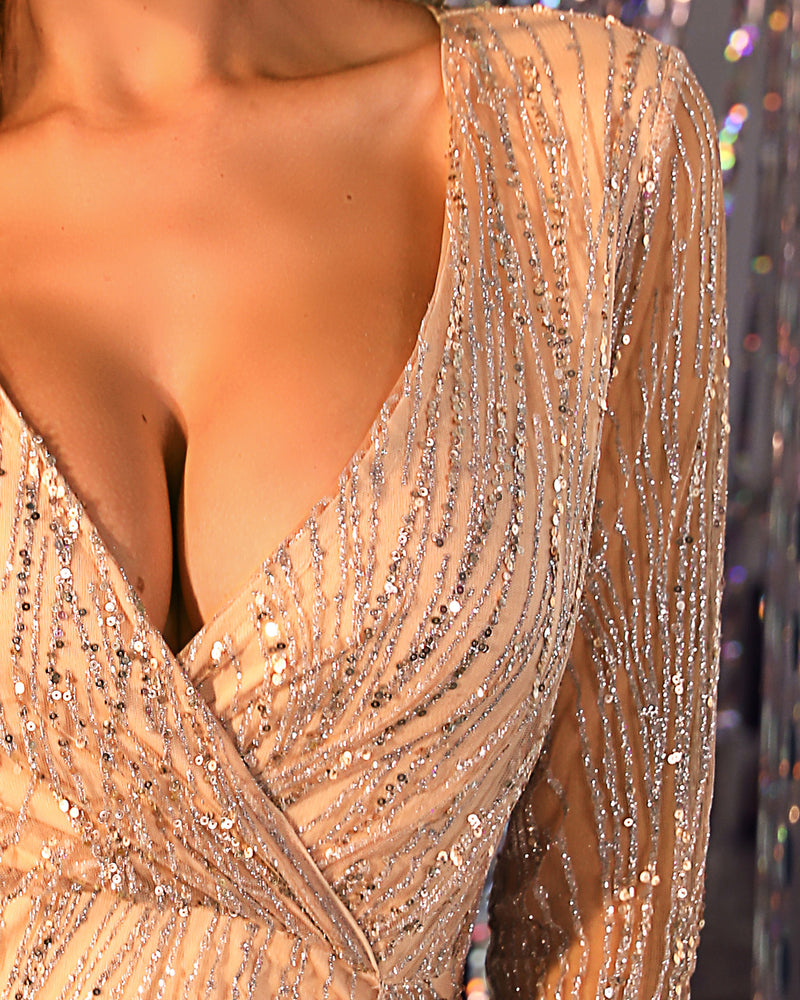 Plunge Slit Sequins Sparkly Party Dress