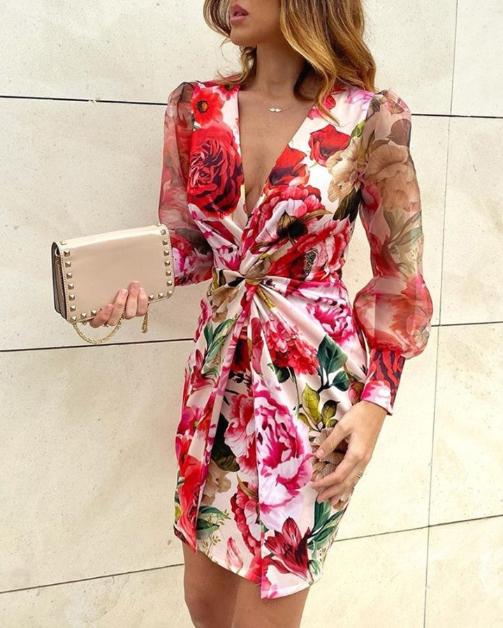 Mesh Floral Print Twisted Waist Midi Dress