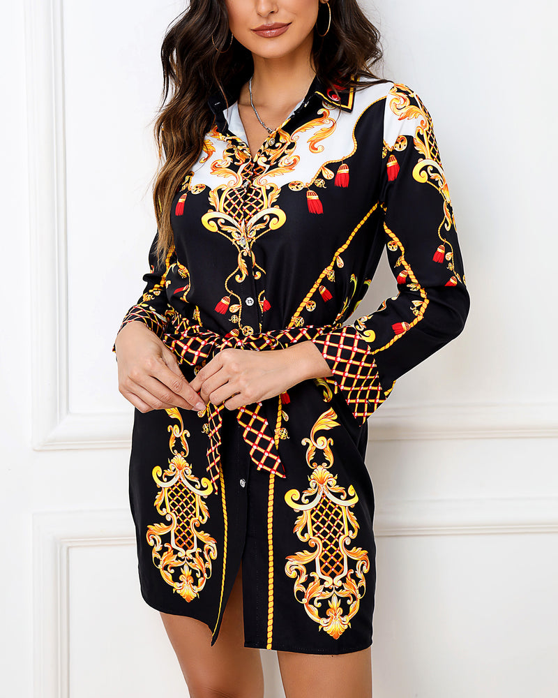 Baroque Print Mini Shirt Dress