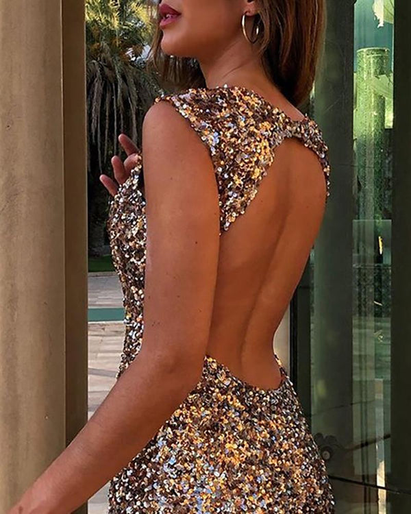 Sequins Sleeveless Backless Bodycon Dress