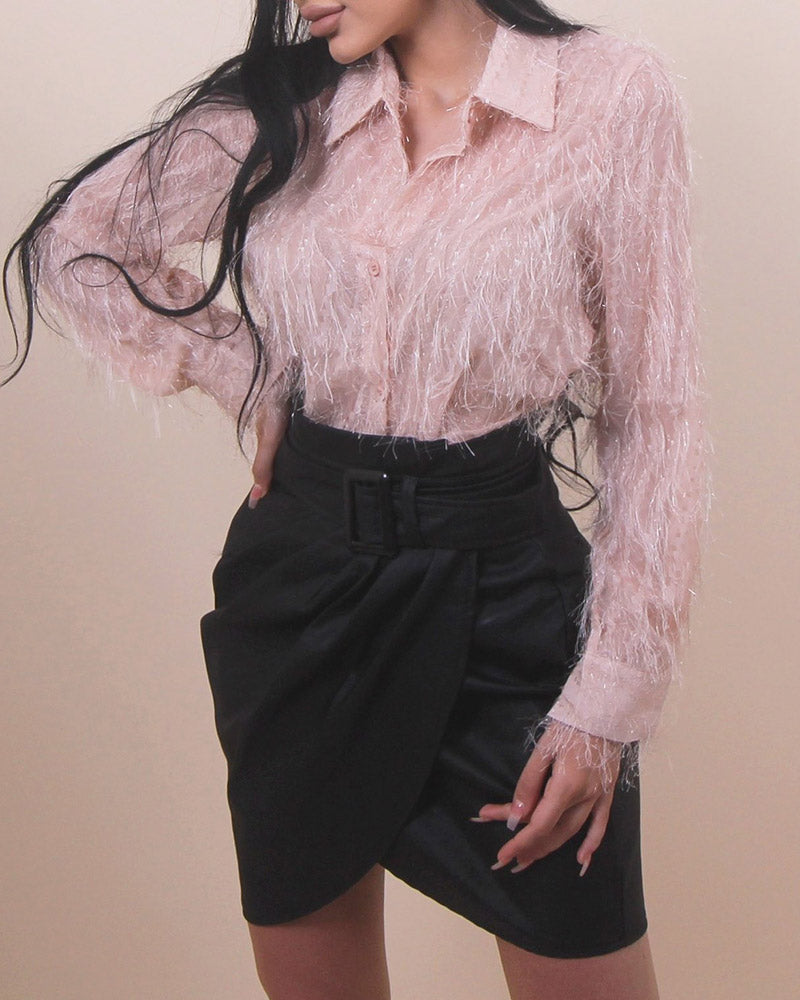Solid Turn-down Collar Long Sleeve Fringed Shirt
