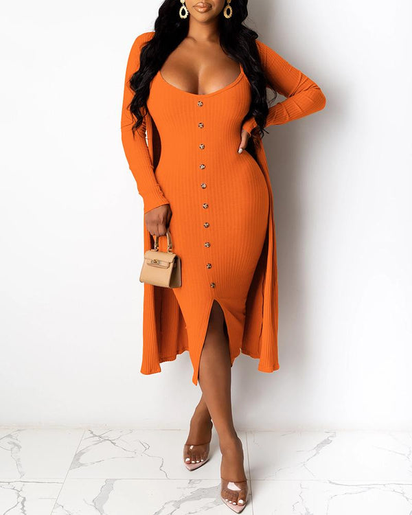 Solid Ribbed Buttoned Dress & Longline Coat