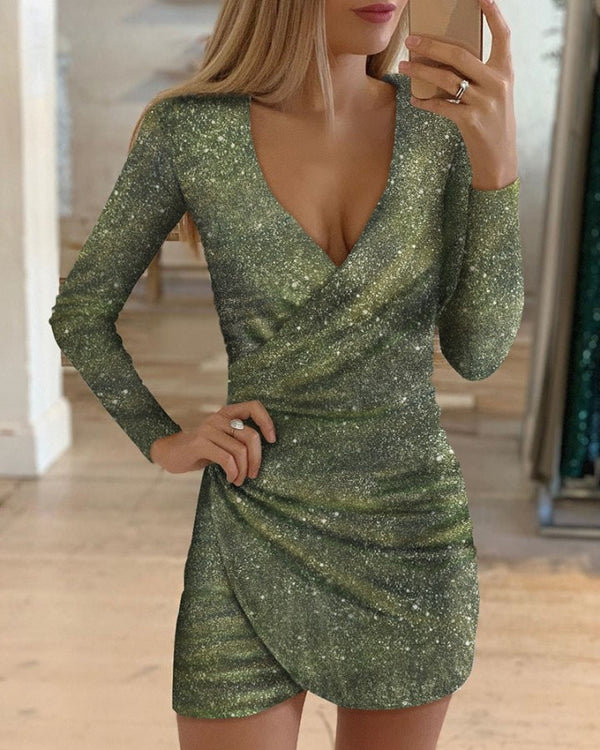 Glitter V-Neck Wrap Bodycon Dress