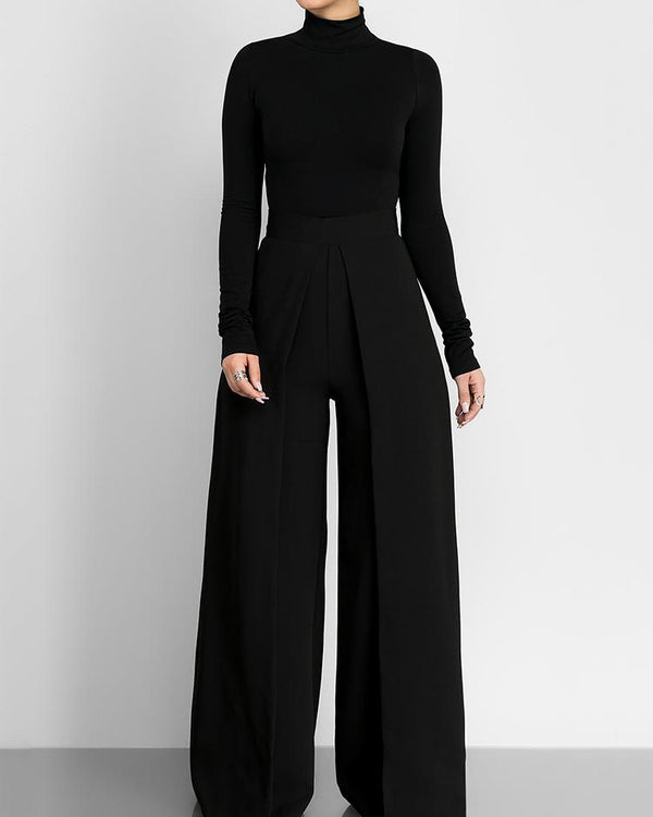 Women High Neck Wide Leg Jumpsuit