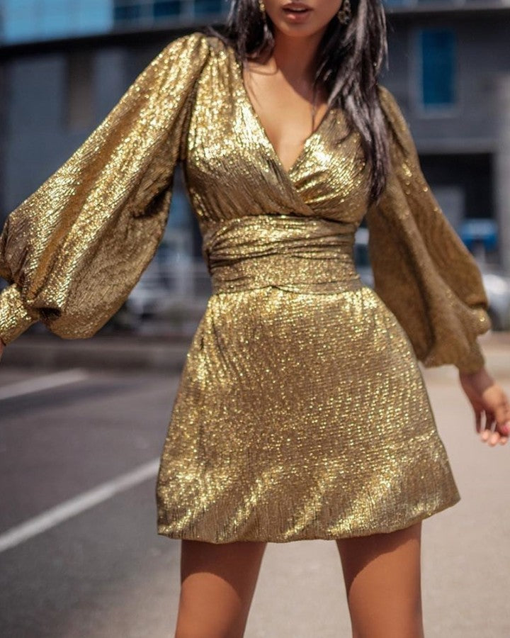 Glitter V Neck Lantern Sleeve Dress