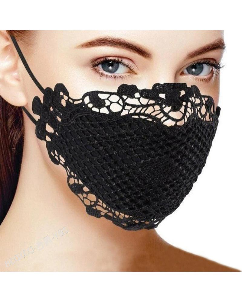Lace Hem Outdoors Breathable Face Mask