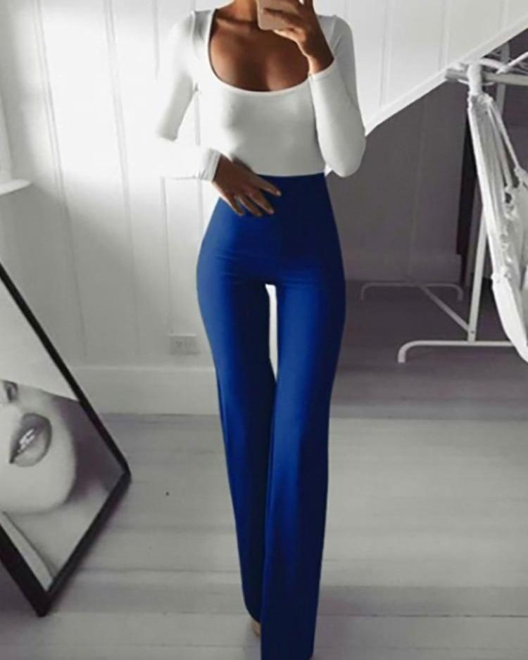 Solid High Waist Bell-Bottom Skinny Pants