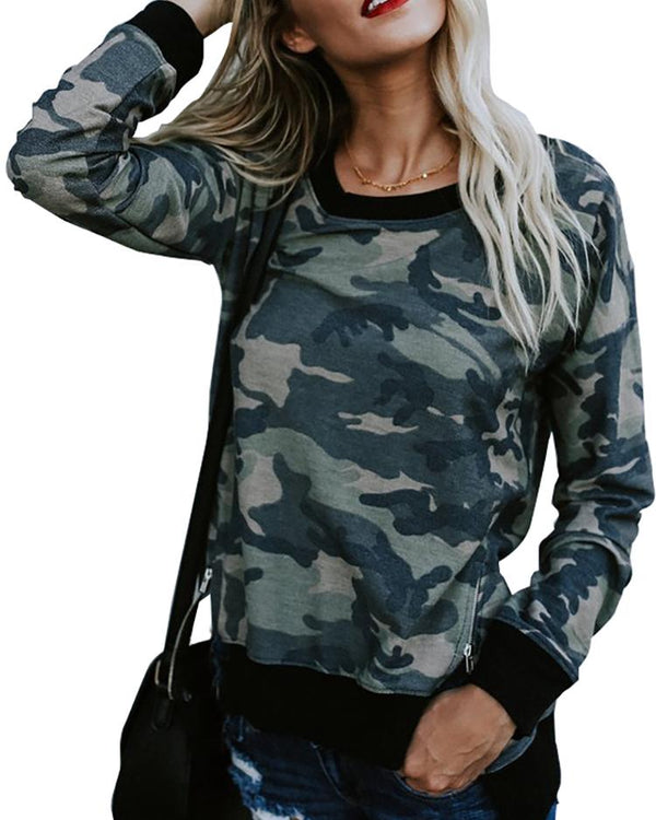 Camouflage Print Zipper Split Casual Sweatshirt