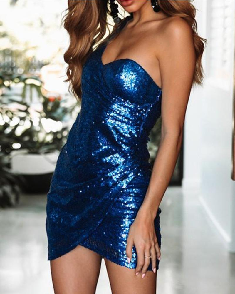 One Shoulder Sequined Strappy Dress