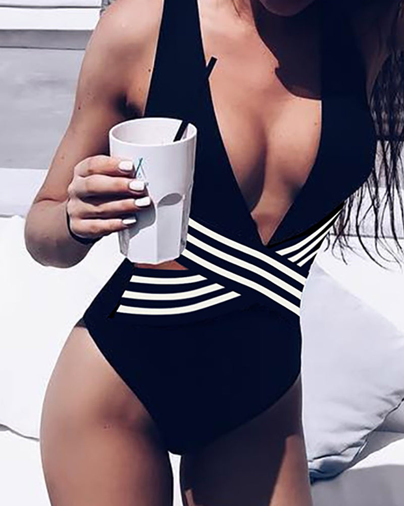 Print Striped One Piece Swimwear