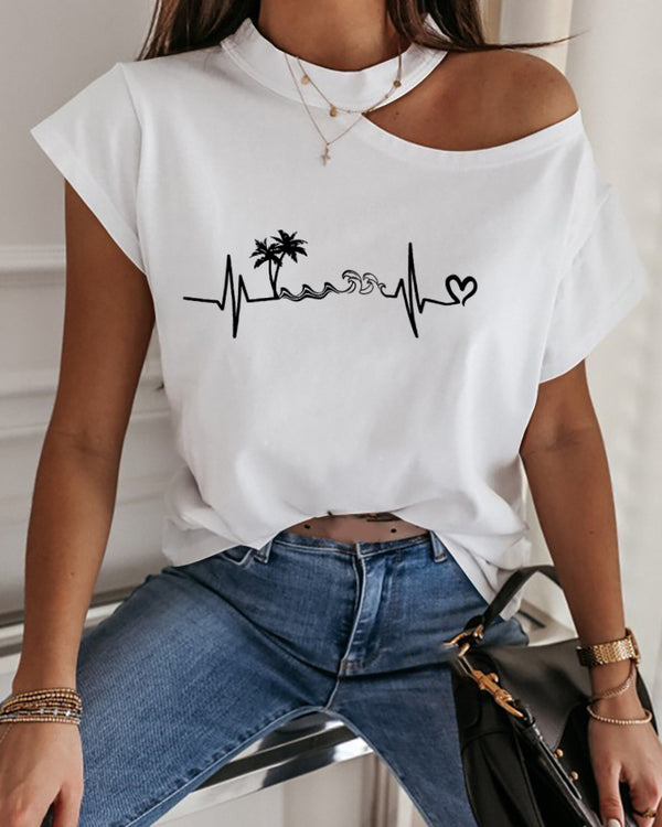 Tree Print Cold Shoulder Short Sleeve T-shirt
